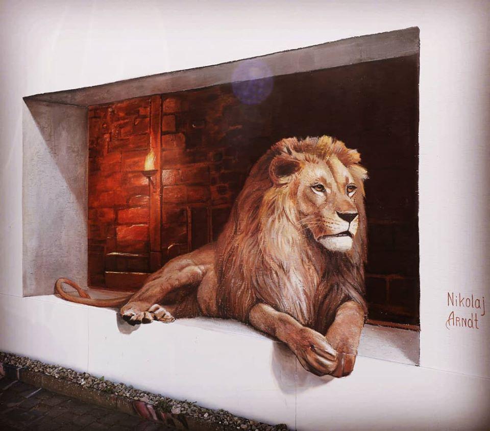 3d street art lion by nikolaj arndt