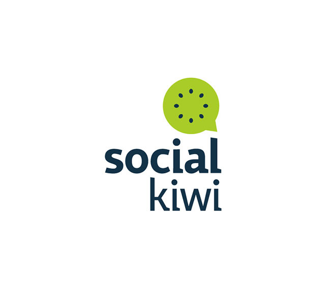 fruit logo design social kiwi