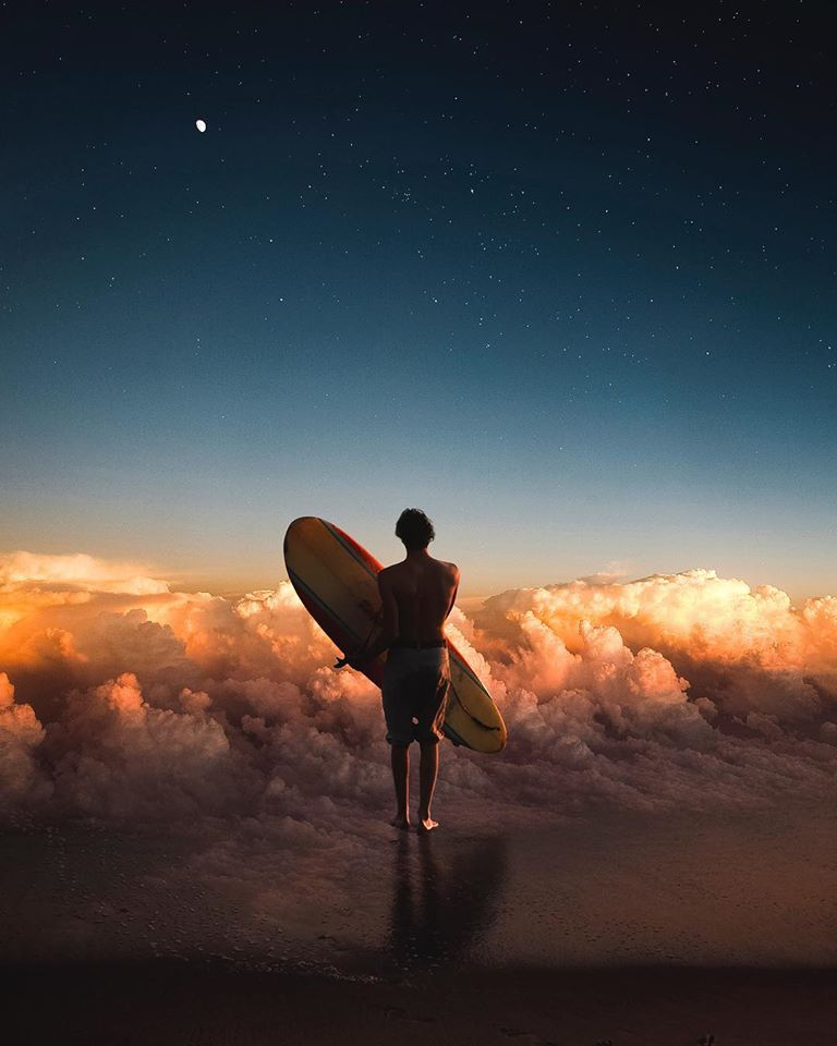 photo manipulation cloud surf by justin peters