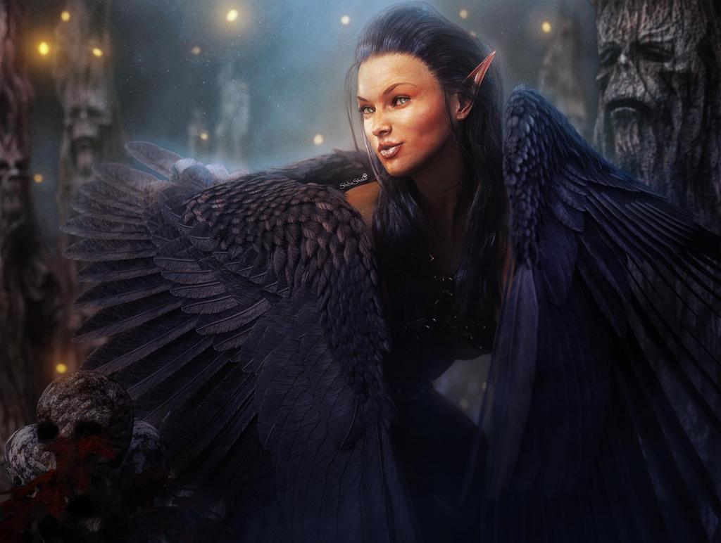 3d fantasy model winged elf girl
