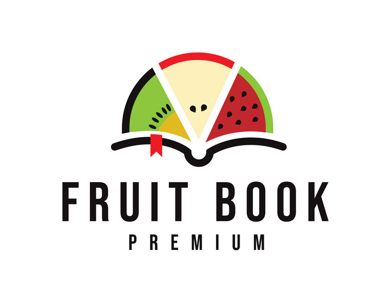 fruit logo design fruit book logo by cucuque design