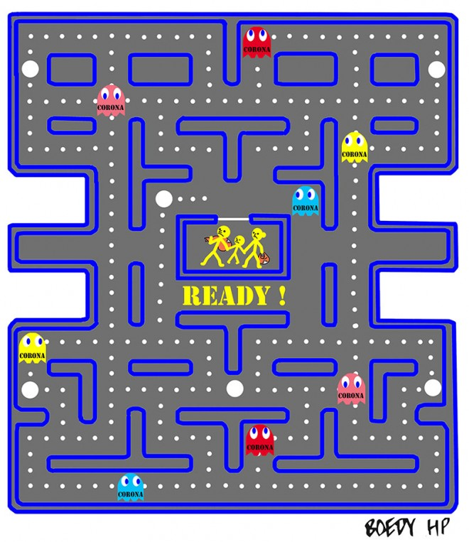 drawing illustration corona virus pac man depiction