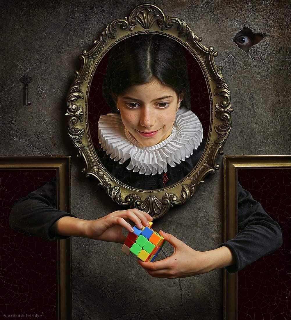 hyper realistic surreal painting artwork rubix cube by alexander sviridov