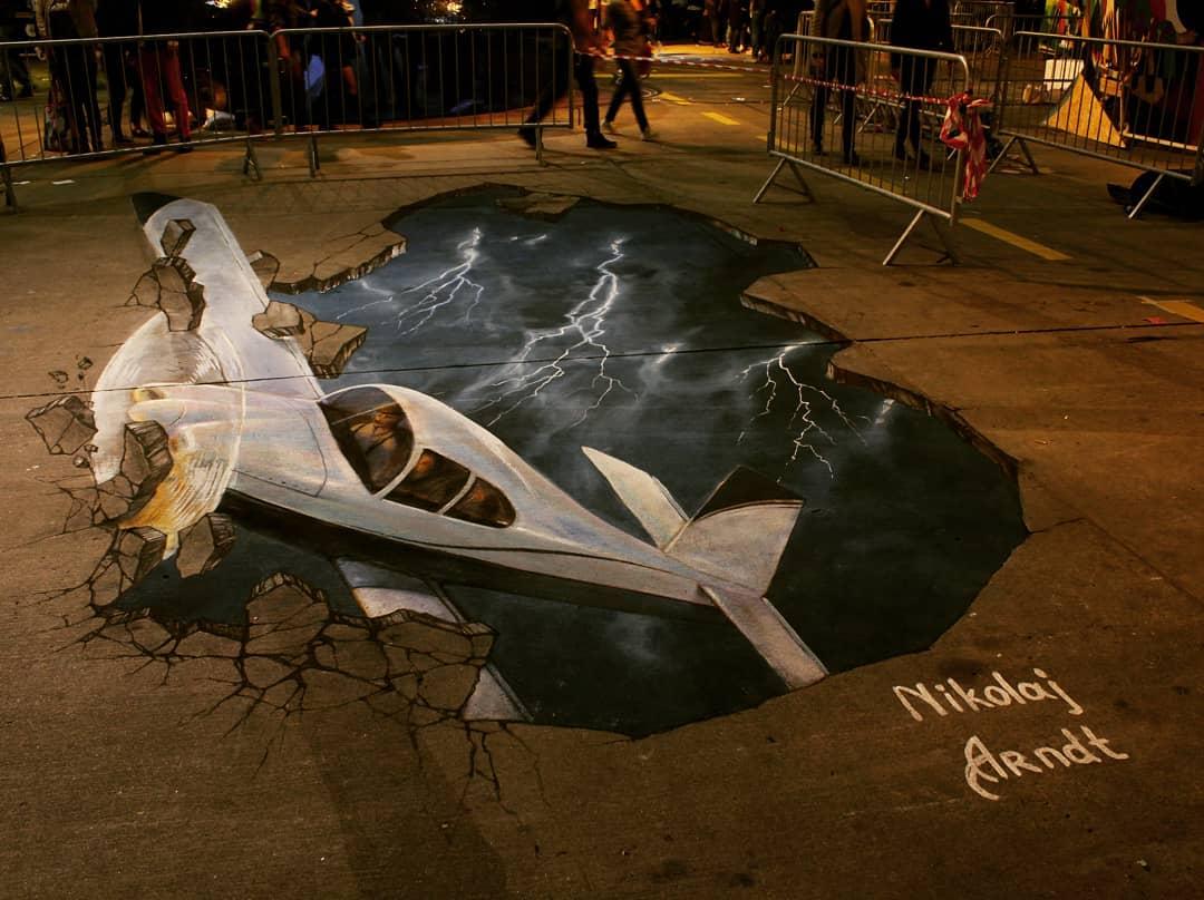 3d street art plane crash