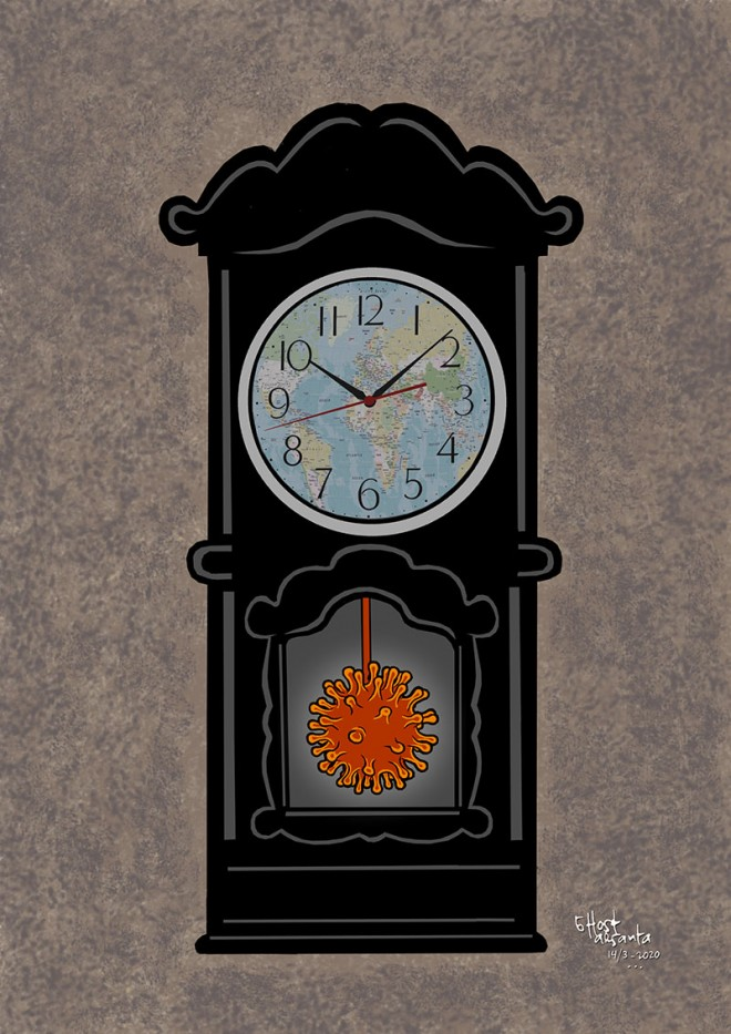 drawing illustration corona virus clock