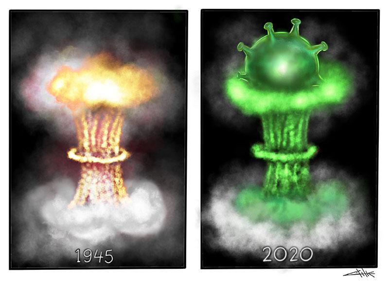 drawing illustration corona virus pandemic impact by recep kilic