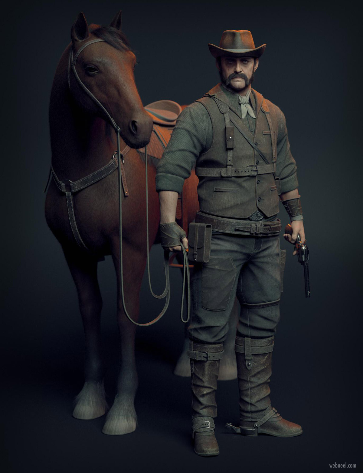 3d model game character design cowboy man with horse by hakob patrikyan