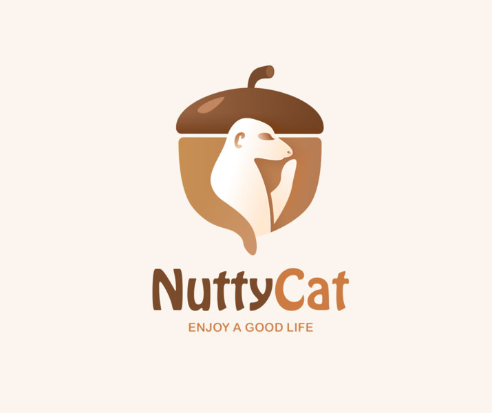 fruit logo design nuttycat by visunny
