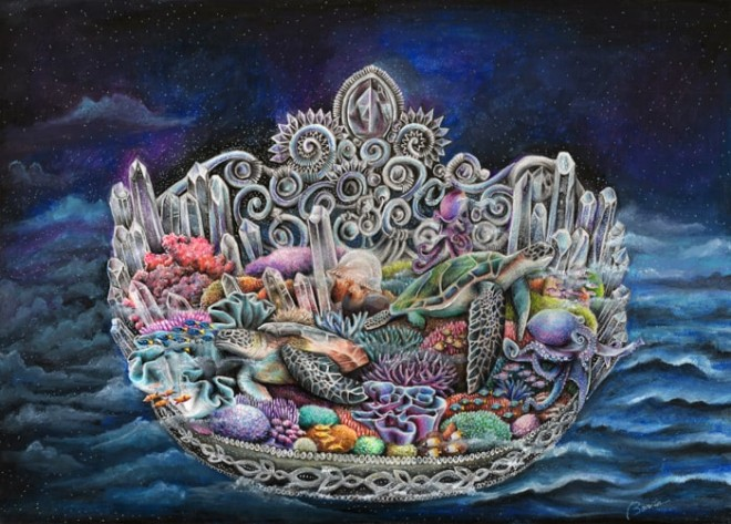 creative color pencil drawing sea creatures