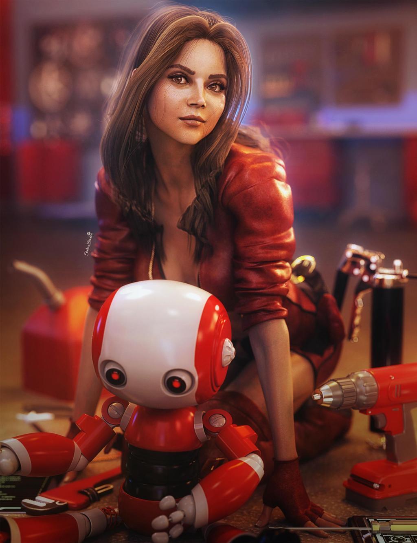 3d fantasy bot engineer girl by shibashake
