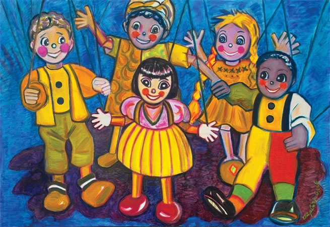 color pencil drawing marionettes