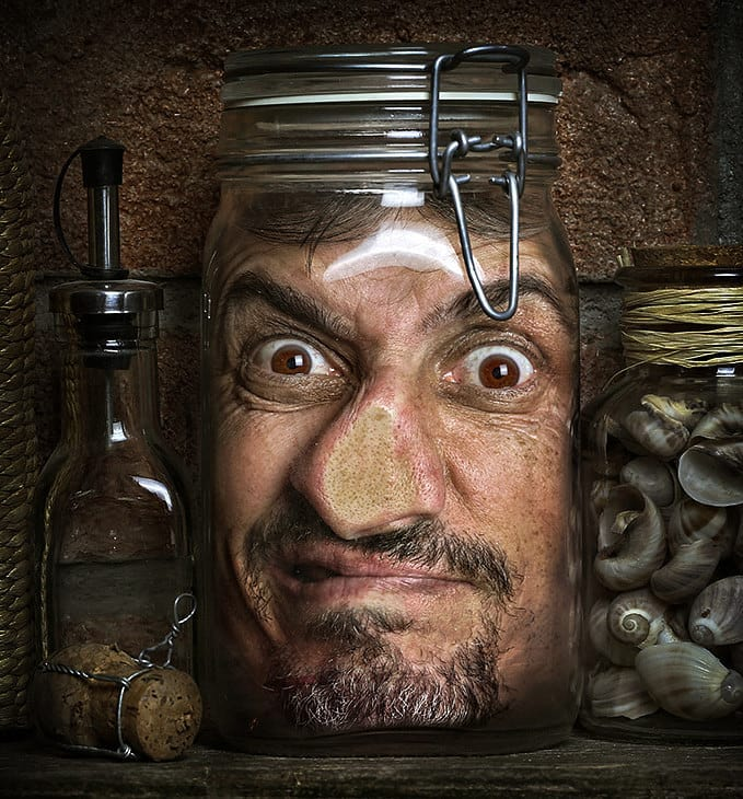hyper realistic portrait paintings bottle trap