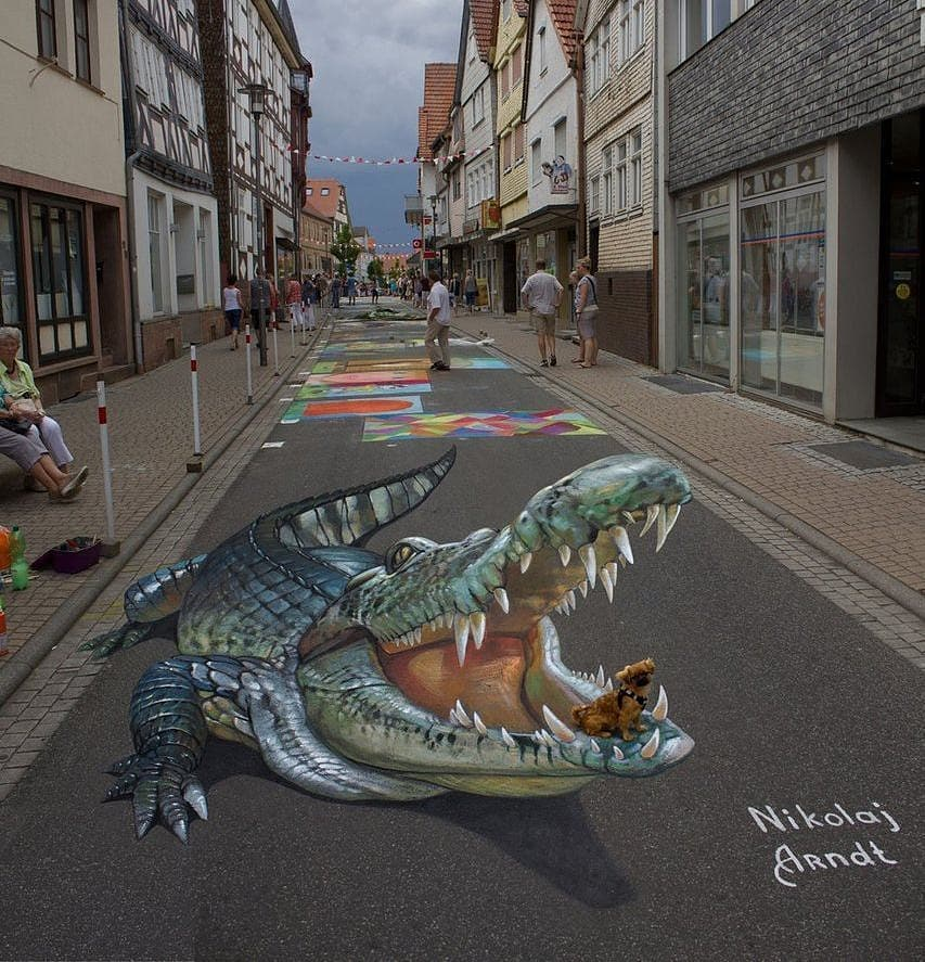 3d street art crocodile by nikolaj arndt