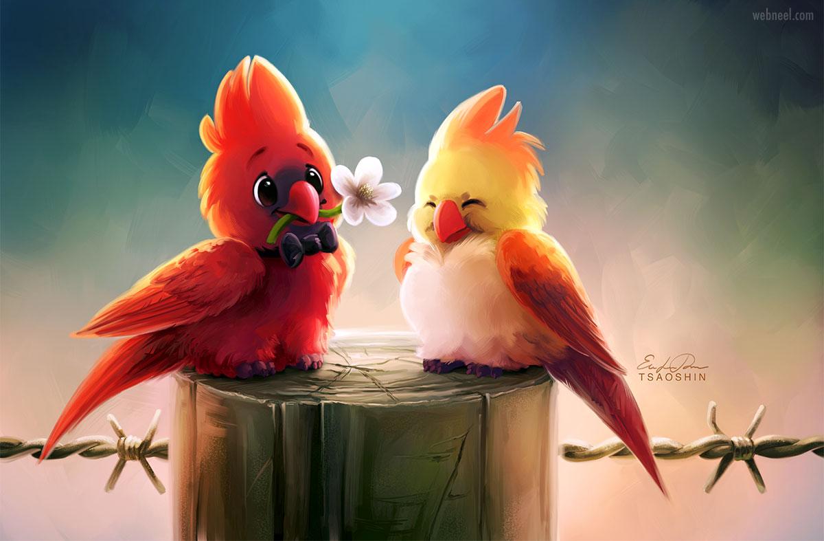 digital painting birds cartoon colorful by tsaoshin