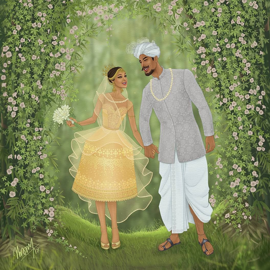 manipuri painting bride and groom by thokchom sony