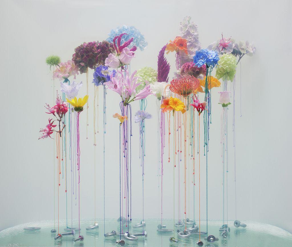 underwater ballet flower art installation
