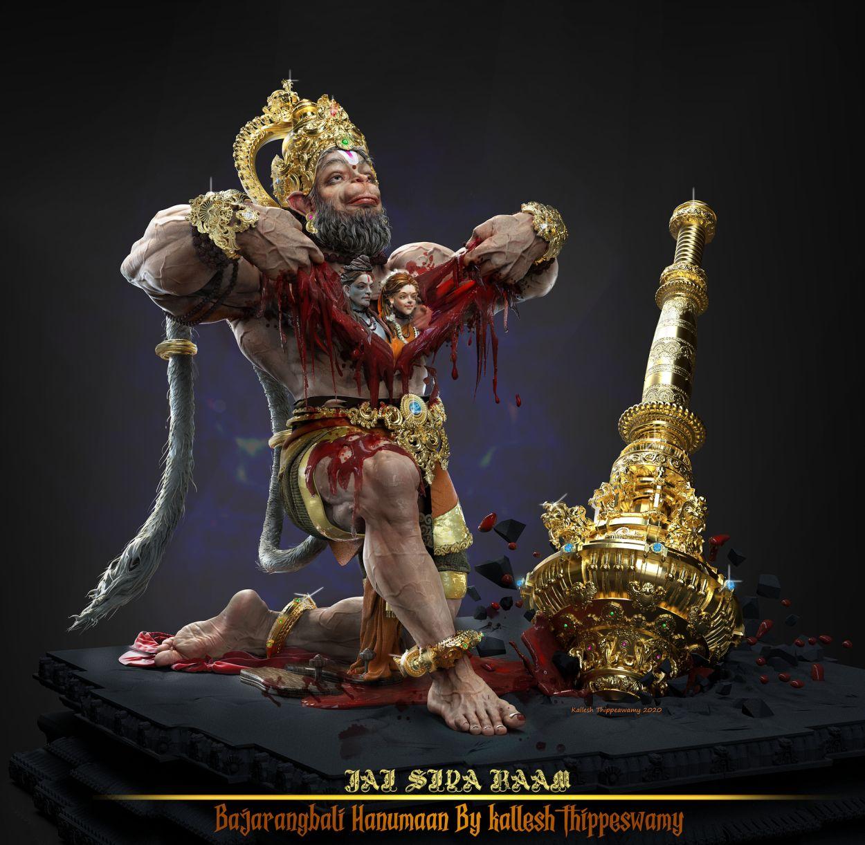 3d sculpture work bajranbali hanuman