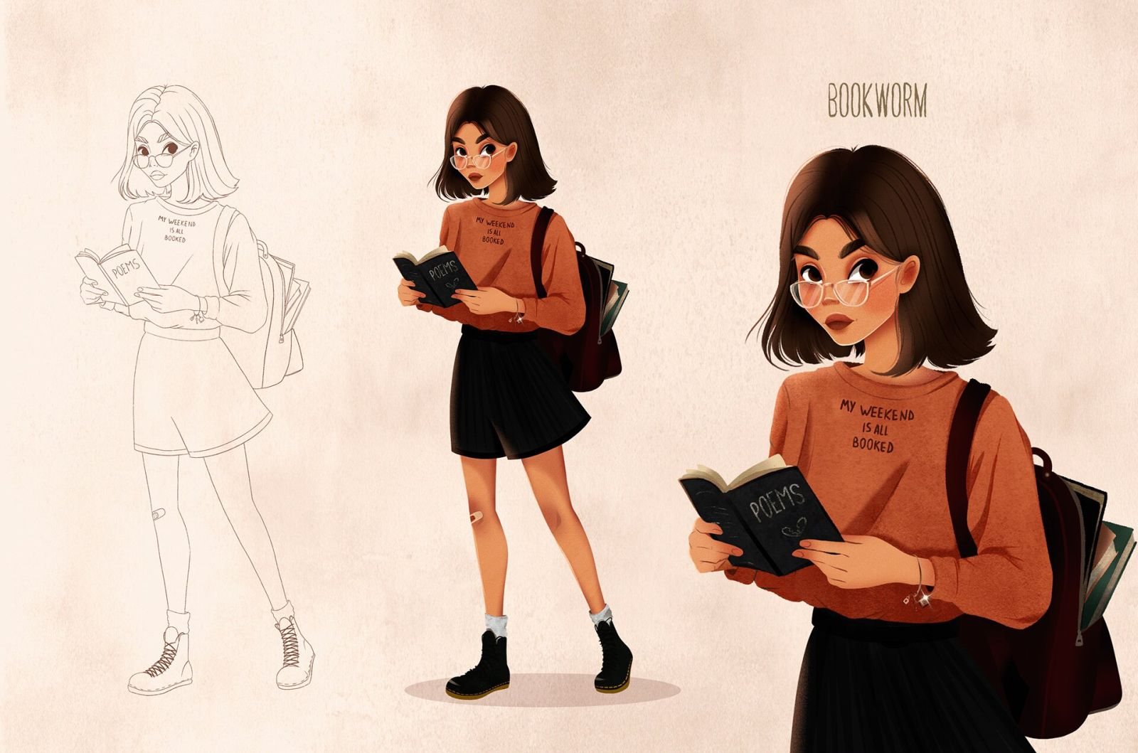 character design illustration book worm