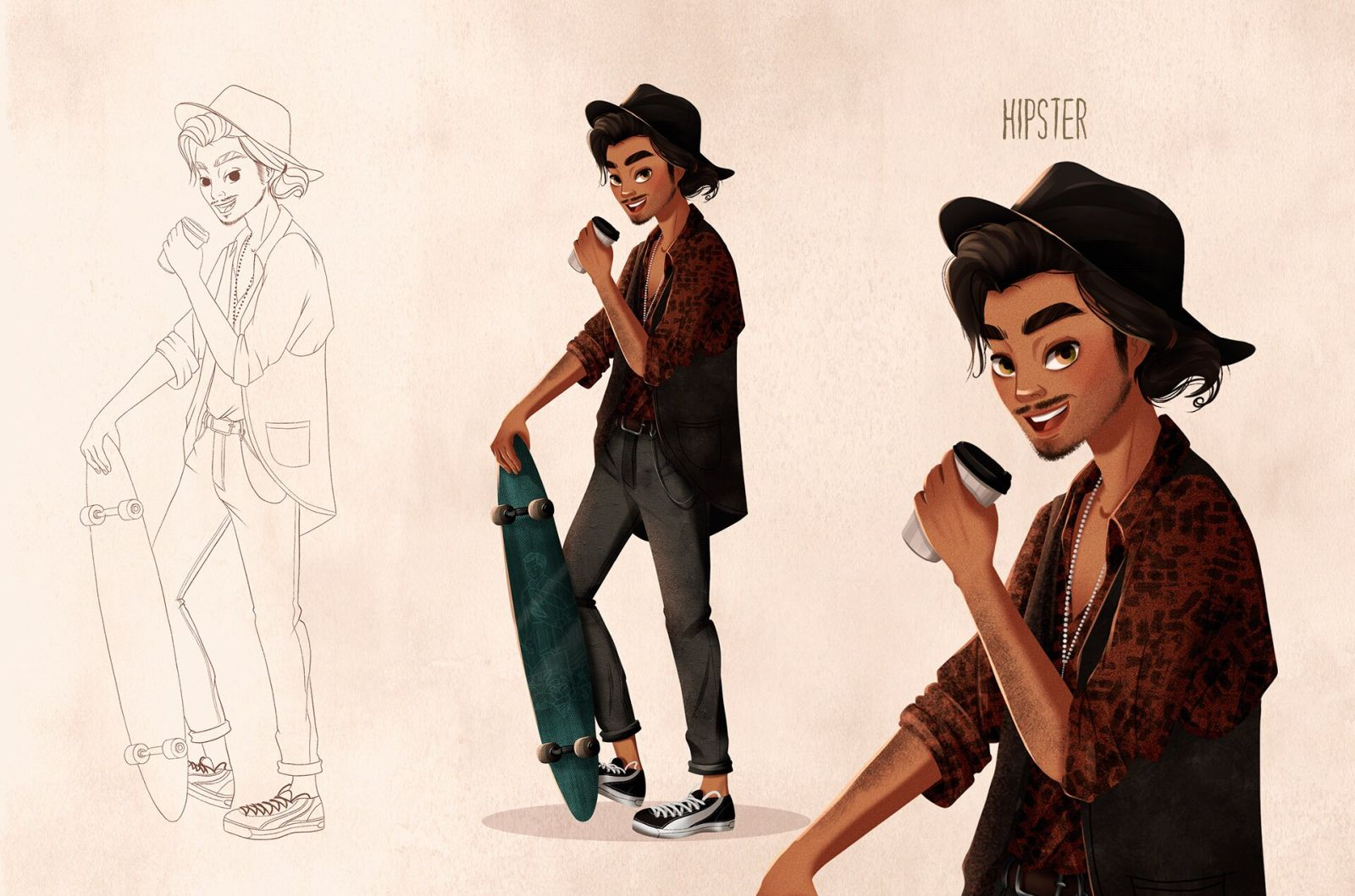 character design illustration hipster