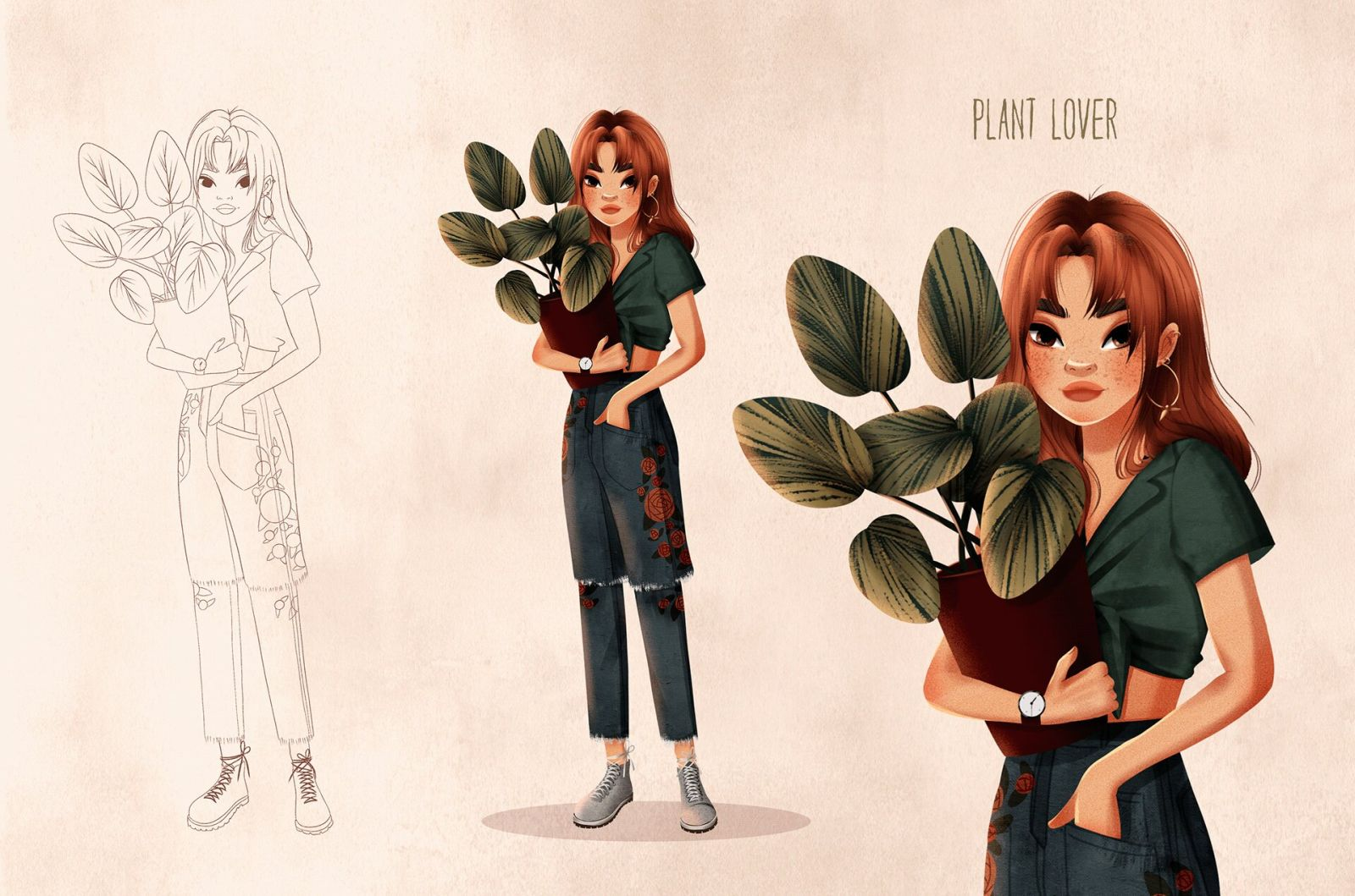 character design illustration plant lover