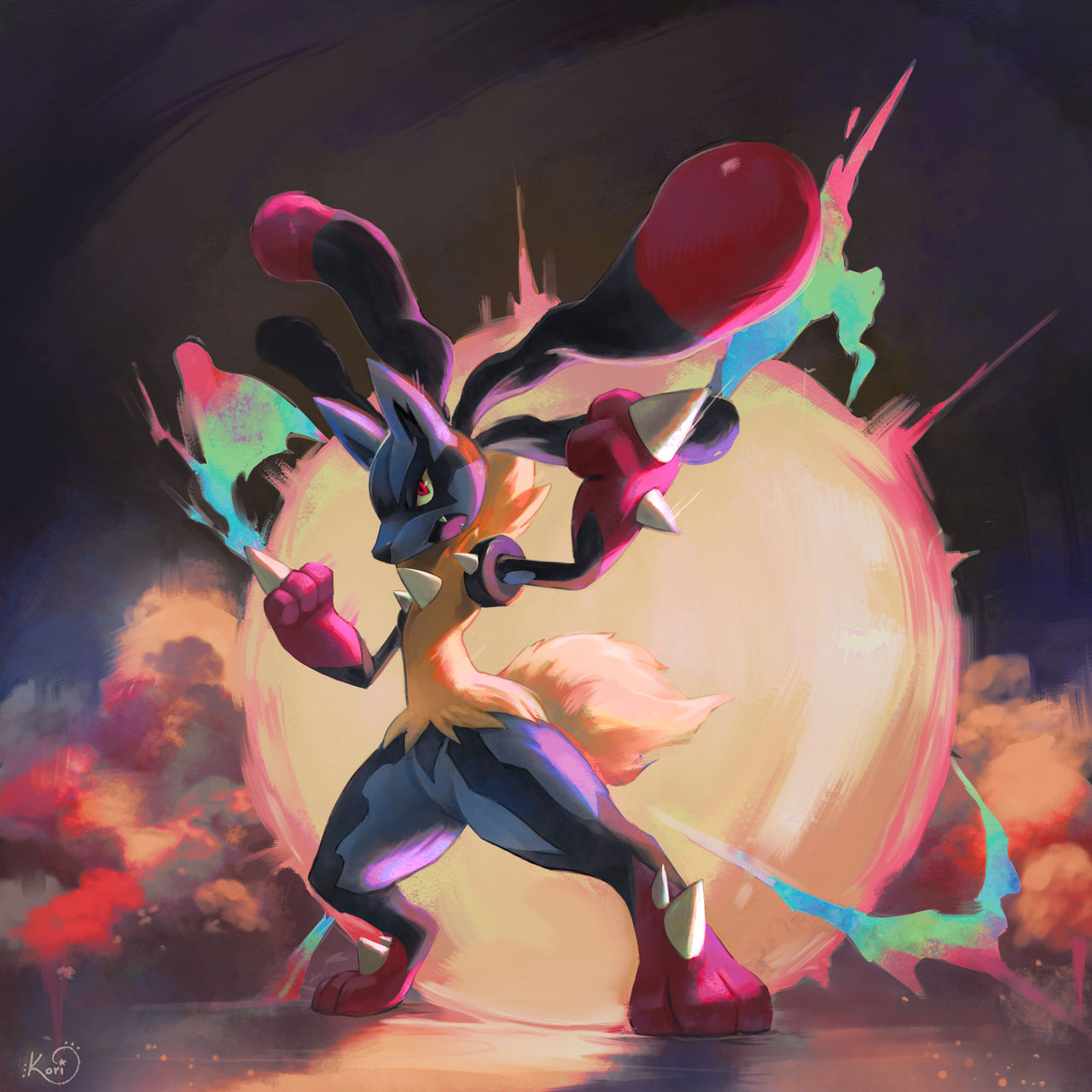 fantasy cartoon mega lucario