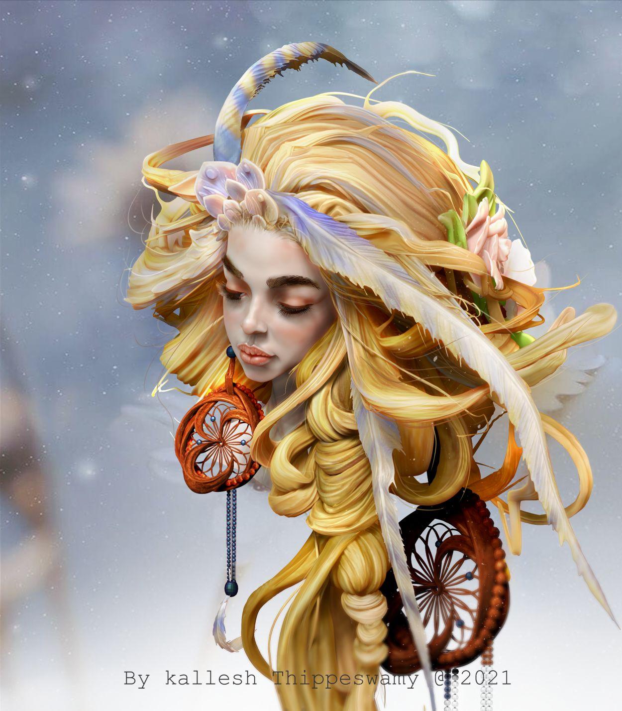 3d sculpture work braid girl