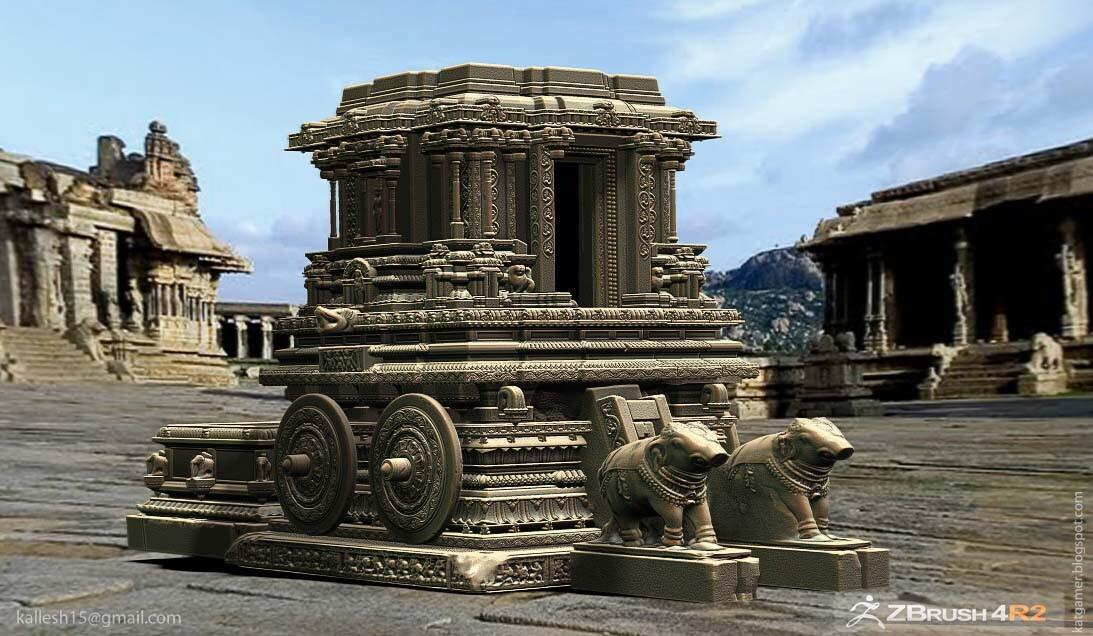 3d sculpture work hampi chariot