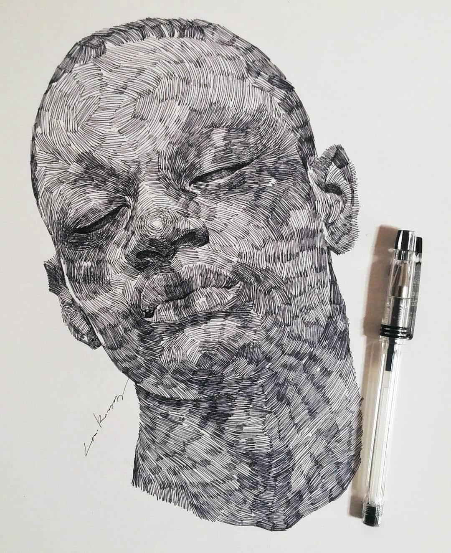 pen drawing man by lee k illustration
