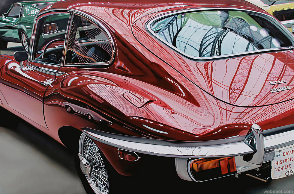 jaguar realistic car painting by cheryl kelley