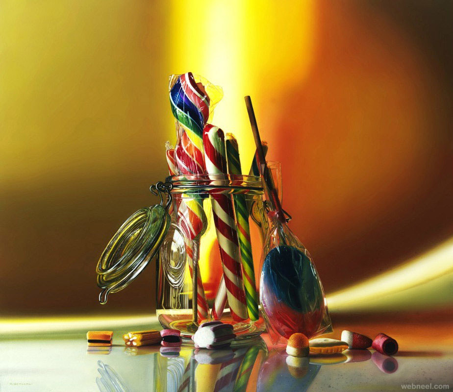 candy oil painting by roberto bernardi