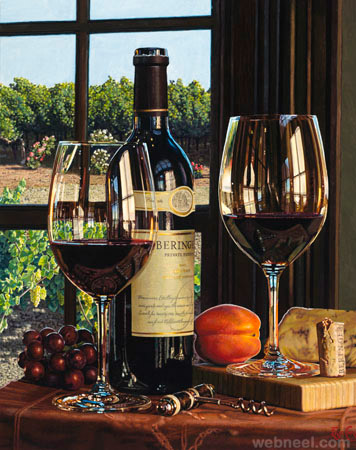 wine oil painting by eric christensen