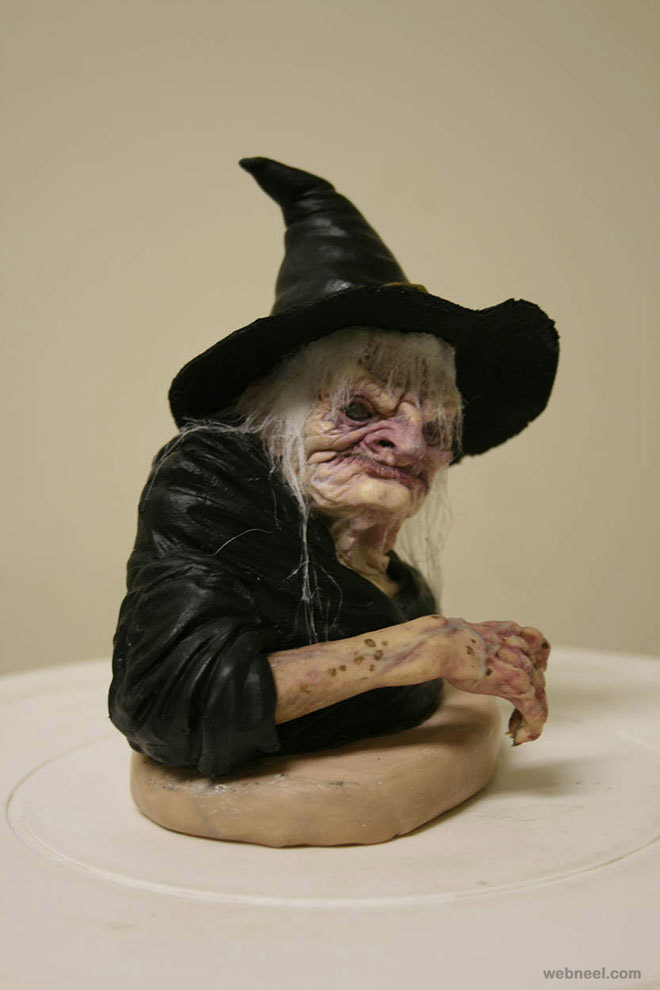 witchy bust realistic sculpture