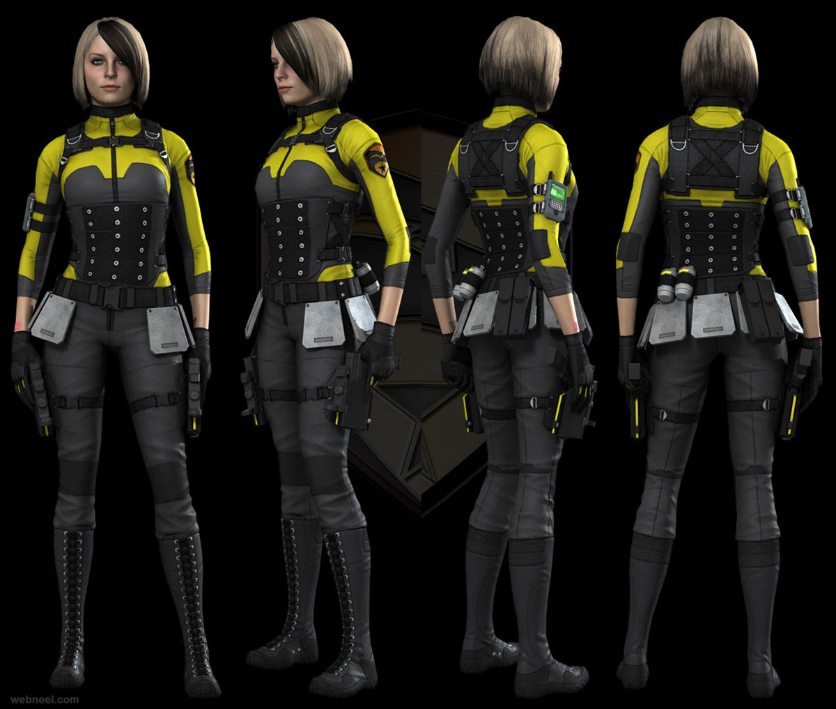 woman soldier 3d character design
