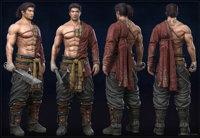 fighter 3d zbrush model by kiyong sim