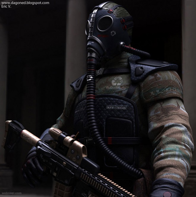 3d military character design