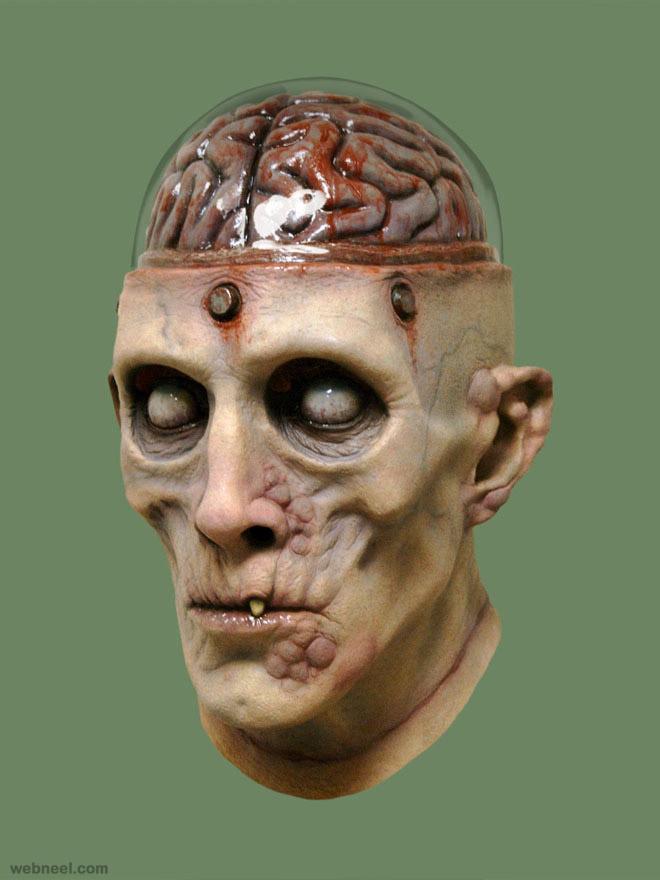frank enstein mask realistic sculpture