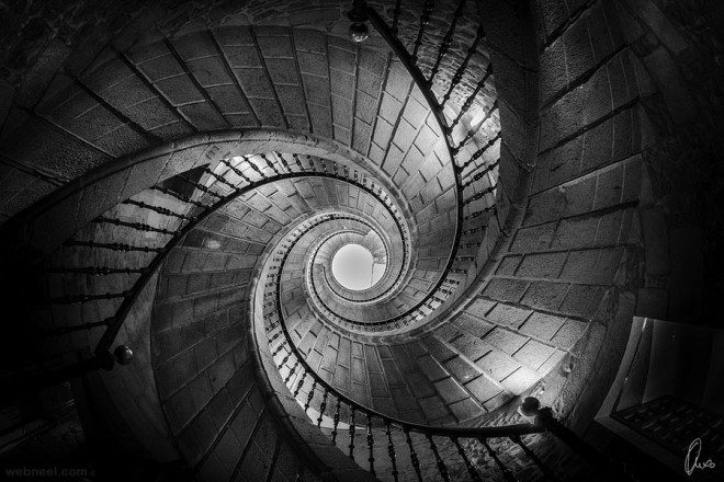 stairs black and white photography