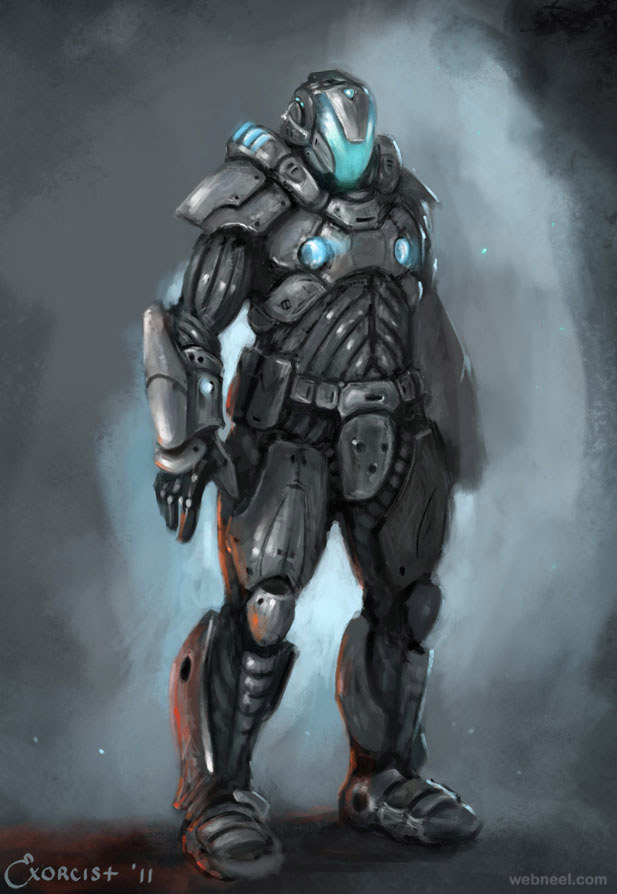 science fiction armor character by alex
