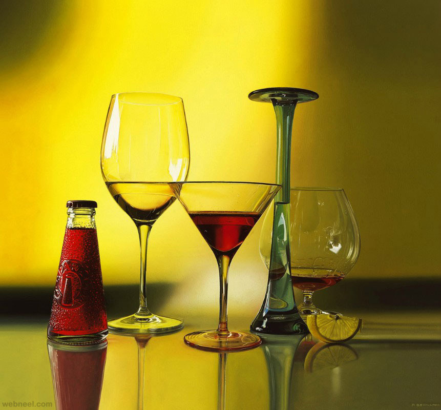 wine glass hyper realistic oil painting