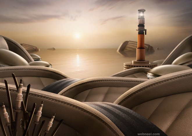 vw golf lighthouse best ads by carl warner
