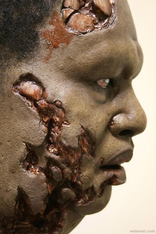 black zombie mask realistic sculpture