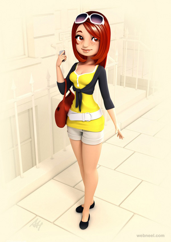 3d girl cartoon character by andrew