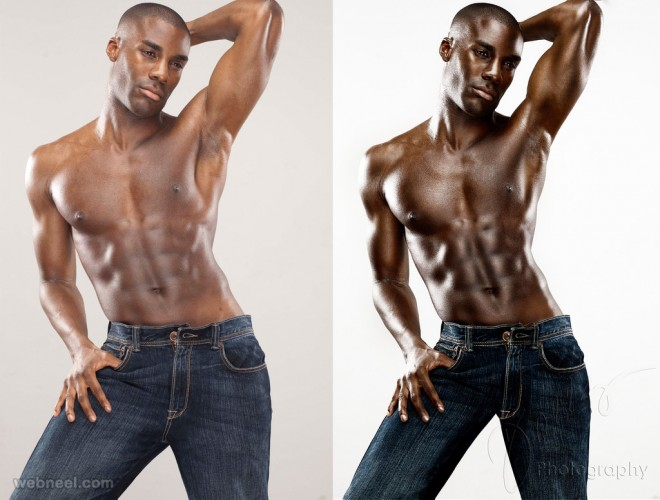 black man photo retouching after before
