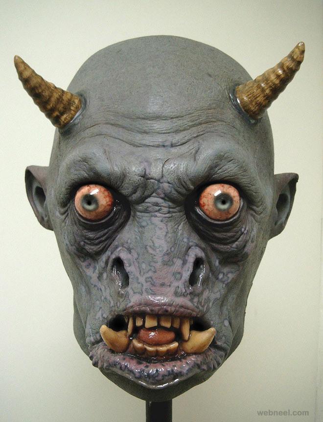 demon mask realistic sculpture