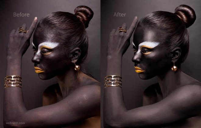 black skin photo retouching after before
