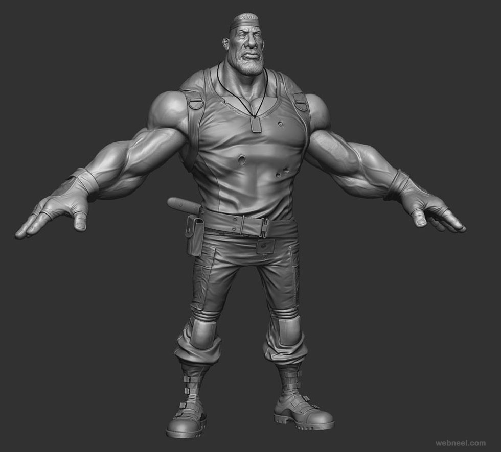 army man zbrush model by rodrigue pralier