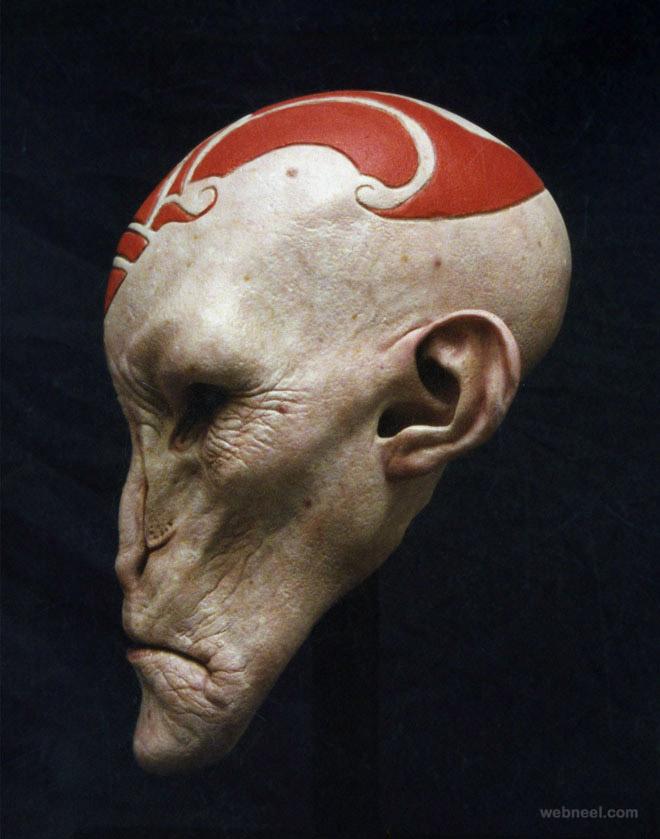 deer alien mask realistic sculpture