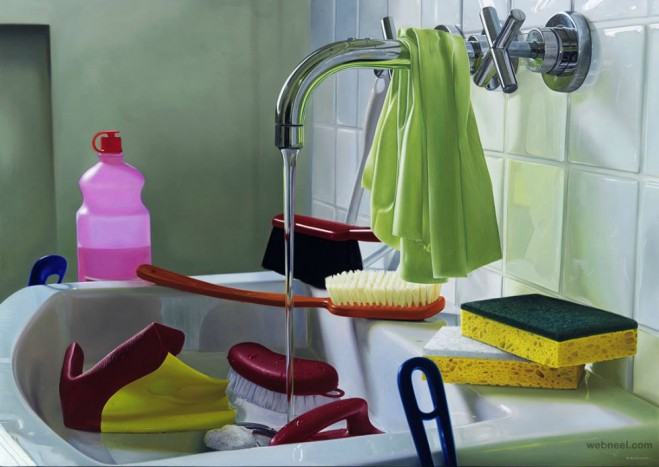 wash basin hyper realistic oil painting