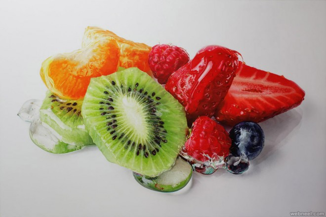 fruits hyper realistic painting by tom martin