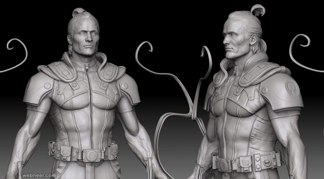 warrior zbrush model by rodrigue pralier